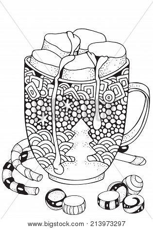 Christmas Mug With Hot Chocolate And Marshmallow. Christmas Decoration. Xmas Sweets. Adult Coloring