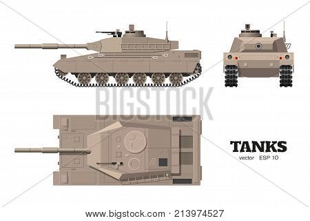 Realistic tank blueprint. Armored car on white background. Top side front views. Army weapon. War camouflage transport. Vector illustration