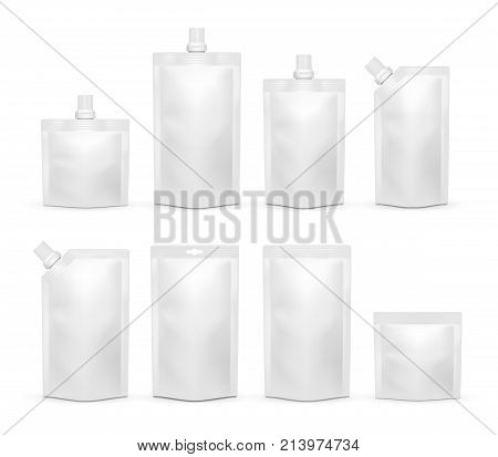 Vector white blank doypack template set. Doy-pack plastic bag or foodstuff packaging realistic mockups isolated on white background.