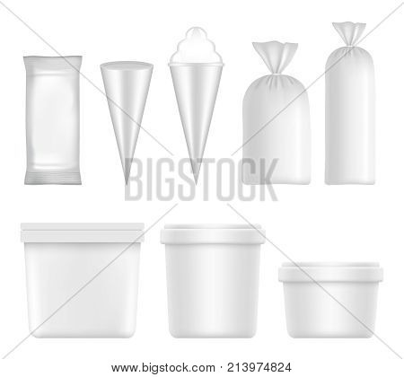 Vector white blank ice cream packaging and container set. Plastic pack templates isolated on white background.