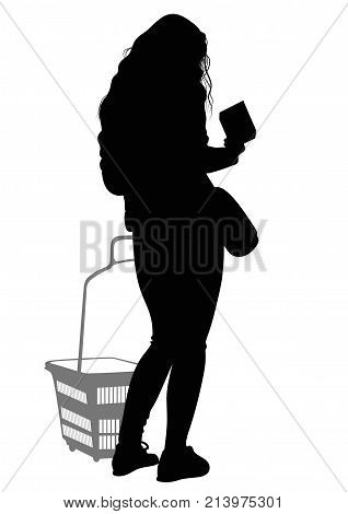 Silhouette of a woman with shopping basket - vector
