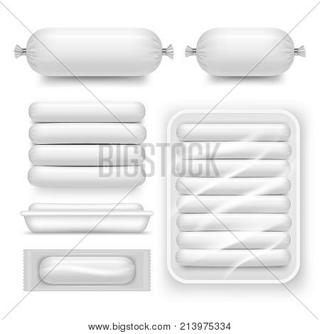 Vector blank white sausage pack set. Realistic template, mockup of sausage sales plastic packaging.