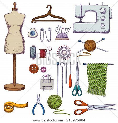 Set of tools for needlework and sewing. Handmade equipment and needlework accessoriesy, colorful sketch illustration. Vector