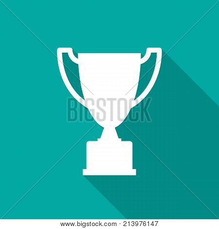 Trophy Icon With Long Shadow Flat Design Style Simple Silhouette Modern Minimalist