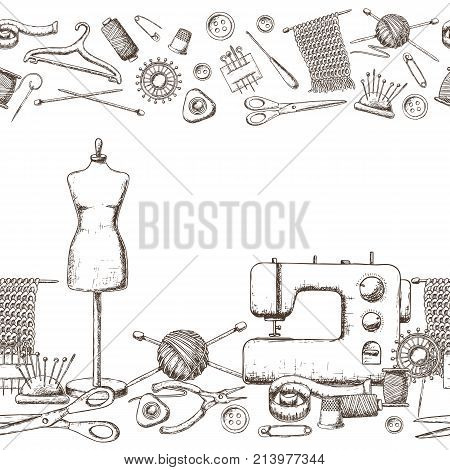 Seamless horizontal borders of tools for needlework and sewing. Handmade equipment and needlework accessoriesy, sketch illustration. Vector