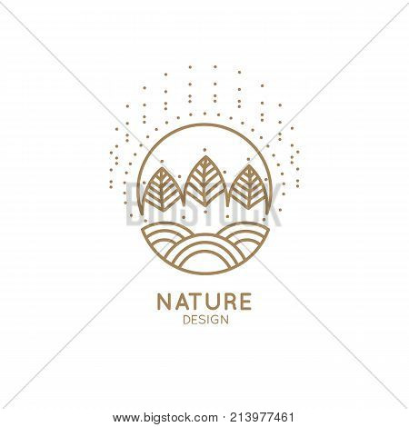 Vector logo of nature in linear style. Outline icon of winter landscape with trees, sun, fields, snow - business emblems, badge for a travel, farming and ecology concepts, health, spa and yoga Center.