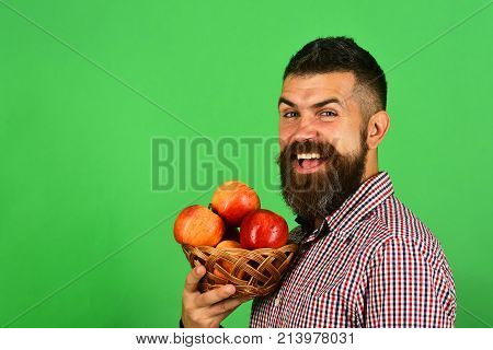Gardening And Fall Crops Concept. Farmer With Excited Face