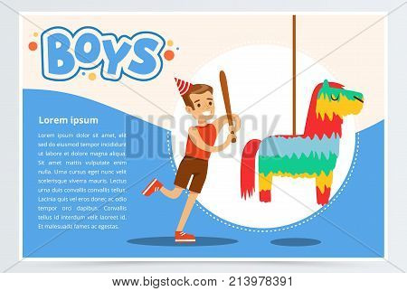 Happy boy breaking Pinata with a baseball bat at his a birthday party, boys banner flat vector element for website or mobile app with sample text