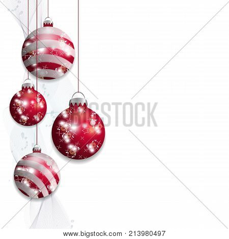 Red hanging Christmas balls. Decorative baubles isolated on white background for holiday design. Vector illustration.