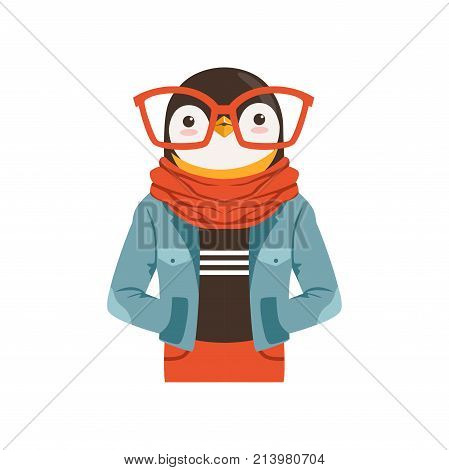 Cute fashion penguin guy character, hipster animal flat vector illustration isolated on a white background