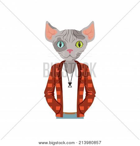 Cute fashion sphinx cat guy character dressed up in plaid jacket, hipster animal flat vector illustration isolated on a white background