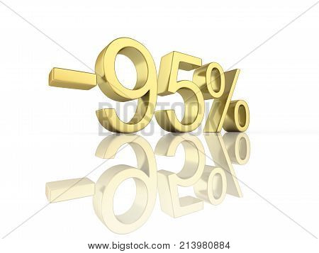 Gold Text 95 Percent Off On White Background With Reflection 3D Render