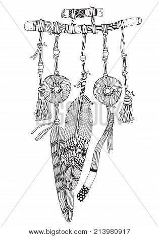 Dreamcatcher With Feathers And Branches. Doodle Style. Black And White. Hand Drawn Adult Coloring Bo