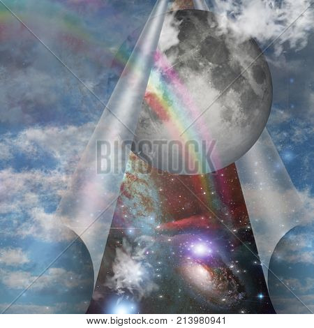 Veil of sky pulled open to reveal other space. 3D rendering.