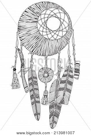 Moon Dreamcatcher With Feathers And Branches. Doodle Style. Black And White. Hand Drawn Adult Colori