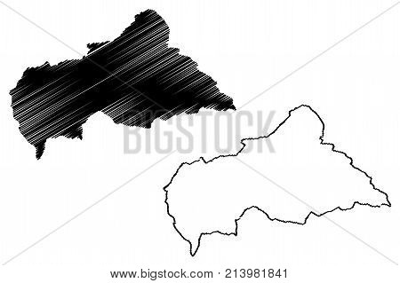 Central African Republic map vector illustration , scribble sketch Central African Republic