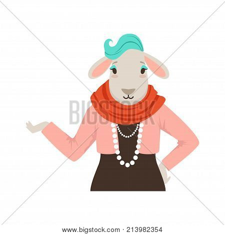 Cute fashion sheep girl character, hipster animal flat vector illustration isolated on a white background