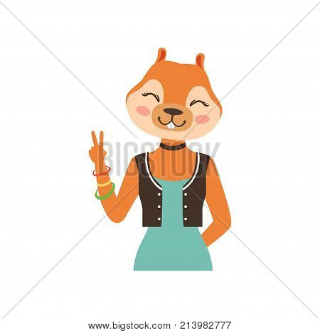 Cute fashion fox girl character showing victory sign, hipster animal flat vector illustration isolated on a white background