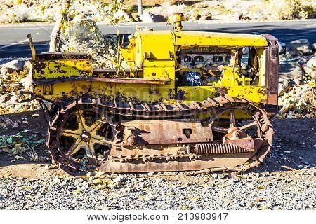 Vintage Mini Yellow Bulldozer With Rust & Treads
