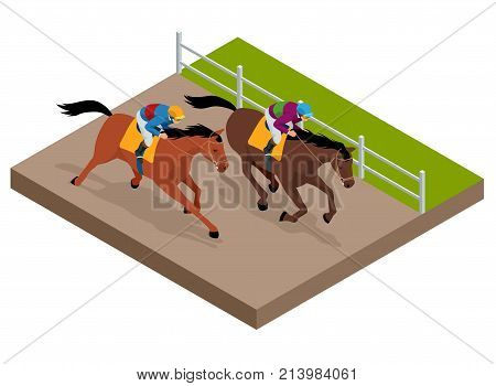 Isometric galloping race horses in racing competition competing with each other. Vector illustration. Equestrian sport. Harness racing at the Hippodrome