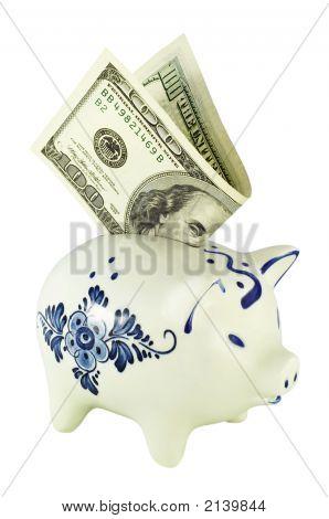 Piggy Bank With Dollar