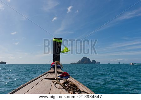 Ship nose, front view longtail boat at Chicken Island, Krabi province, Thailand