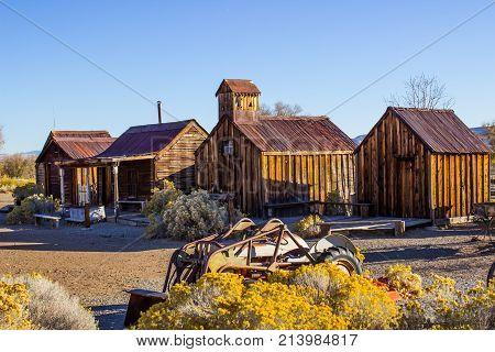 Vintage Wooden Shacks In Nevada Desert In Early Morning