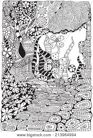 Coloring Book Page For Adult And Children. A4 Size. Black And White Abstract Fantasy Picture. Old Tr