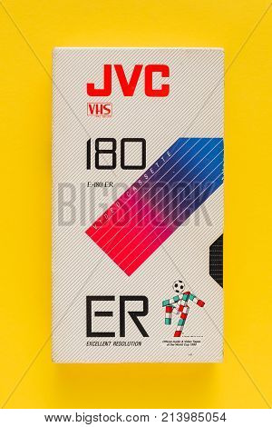 NOVI SAD SERBIA - NOVEMBER 6 2017: JVC VHS video cassette. Video Home System recording tape cassettes was released in Japan in late 1970s. Retro video technology illustrative editorial.