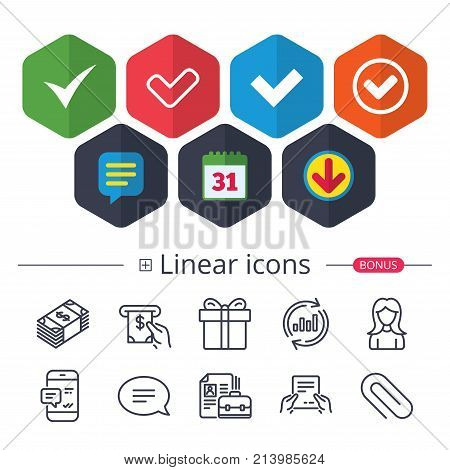 Calendar, Speech bubble and Download signs. Check icons. Checkbox confirm circle sign symbols. Chat, Report graph line icons. More linear signs. Editable stroke. Vector