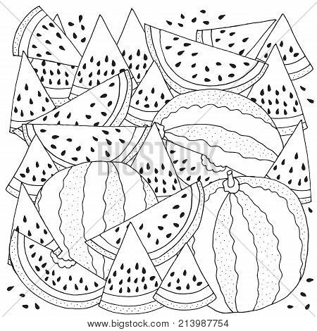 Pattern For Coloring With Watermelon. Black And White Vector Illustration. Slice Of Watermelon. Dood