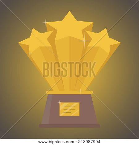 Gold cup of three stars for the winner. The concept of victory. Vector illustration.