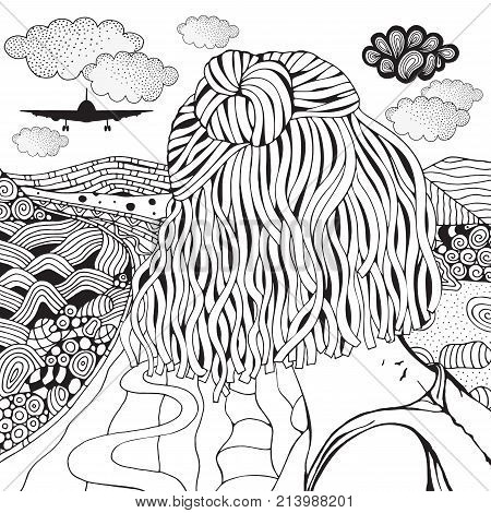 The Girl Is Looking Into The Distance. The Plane Flies Away Above The Clouds. Long Road And Mountain