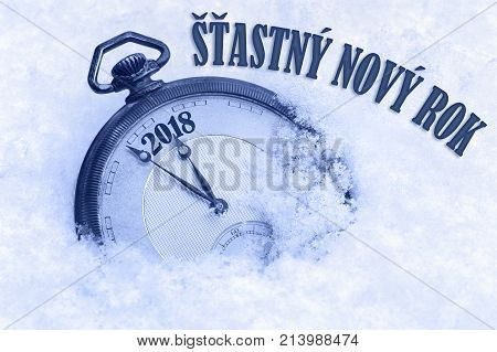 Happy New Year 2018 greeting in Czech language Stastny novy rok text, pocket watch in snow, 2018 greeting, 2018 new year