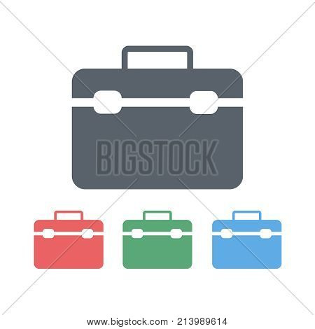 Colored flat web icons briefcase, diplomat handbag, business case. Vector illustration. The concept of business.