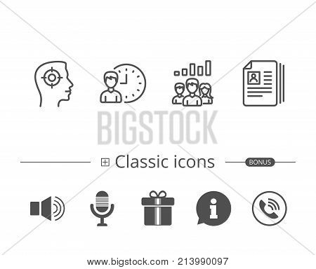 Head hunting, Business Networking and Teamwork line icons. Get a Job, CV and Team work results signs. Information speech bubble sign. And more signs. Editable stroke. Vector