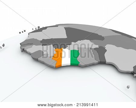 Flag Of Ivory Coast On Globe