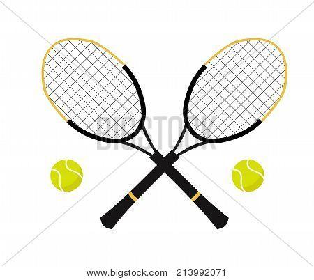 Tennis balls and tennis racquet, vector illustration. Yellow tennis balls. Tennis design over white background vector illustration. Sport, fitness, activity vector design.