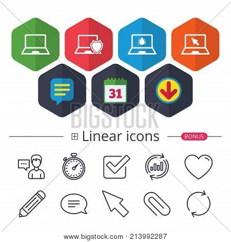Calendar, Speech bubble and Download signs. Notebook laptop pc icons. Virus or software bug signs. Shield protection symbol. Mouse cursor pointer. Chat, Report graph line icons. More linear signs