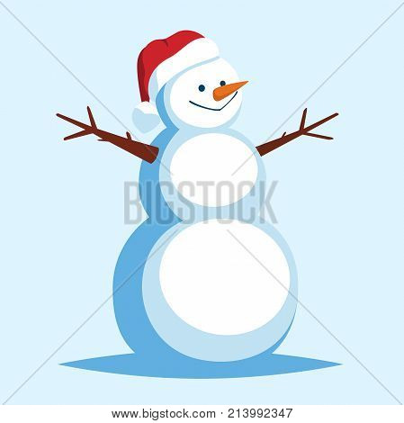 Funny Cartoon Snowman in a red Santa hat. Vector character-smiling snowman. Merry christmas and happy new year greeting card with snowman. Vector illustration isolated from blue background