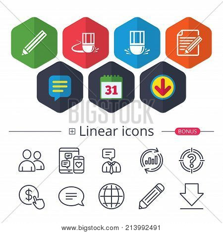 Calendar, Speech bubble and Download signs. Pencil icon. Edit document file. Eraser sign. Correct drawing symbol. Chat, Report graph line icons. More linear signs. Editable stroke. Vector