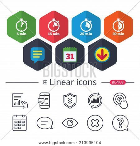 Calendar, Speech bubble and Download signs. Timer icons. 5, 15, 20 and 30 minutes stopwatch symbols. Chat, Report graph line icons. More linear signs. Editable stroke. Vector