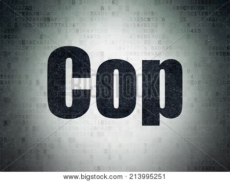 Law concept: Painted black word Cop on Digital Data Paper background