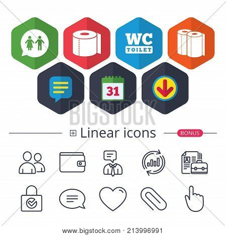 Calendar, Speech bubble and Download signs. Toilet paper icons. Gents and ladies room signs. Paper towel or kitchen roll. Man and woman symbols. Chat, Report graph line icons. More linear signs