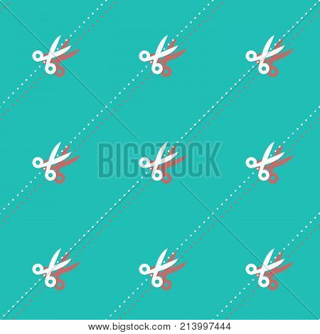 Scissors And Dots Haircutter Accessory Seamless Contrast Shadow Pattern