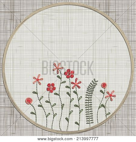 Embroidery Floral Pink Flowers,leaves, Twigs, Meadow.