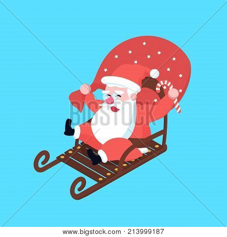 Cute Happy Fast Riding On Sleigh Cartoon Santa Claus. Christmas Holiday Character In A Hurry On Sled