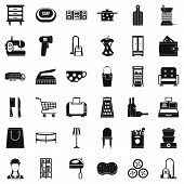Housework icons set. Simple style of 36 housework vector icons for web isolated on white background poster