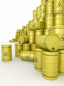 A barrels of radioactive waste on white background. 3d poster