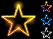 Vector - Glowing Neon Stars Set of Four poster